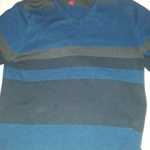 Alfani Sweaters - ALFANI CREW NECK L BLUE AND BLACK STRIPED SWEATER